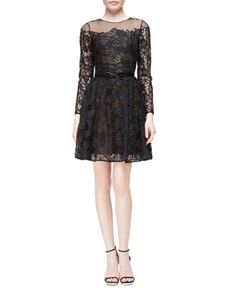 Long-Sleeve Belted Lace Flare Dress