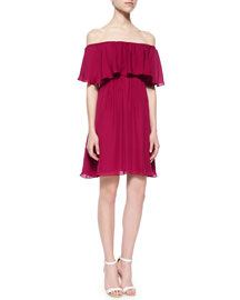 Dora Off-the-Shoulder Ruffle-Top Dress, Cranberry
