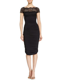Nasira Lace-Top Ruched Cocktail Dress