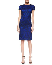 Short-Sleeve Embellished Satin Sheath Dress