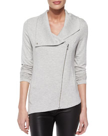 Villous Front-Zip Sweatshirt Jacket, Heather