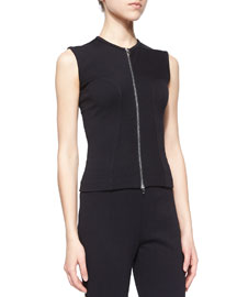 Sleeveless Zip-Front Top