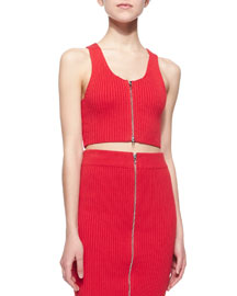 Sleeveless Ribbed Zip-Front Cropped Top