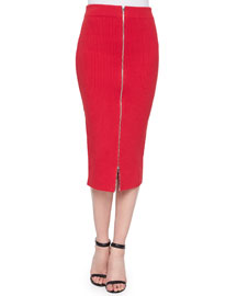 Zip-Front Ribbed Midi Pencil Skirt