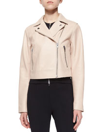 Pebbled Leather Motorcycle Jacket, Powder