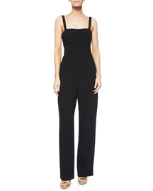 Back-Cutout Bandeau Jumpsuit, Black