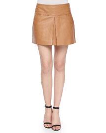 Lambskin Leather Center-Pleated Mini Skirt