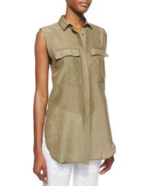 Sleeveless Cotton-Silk Top