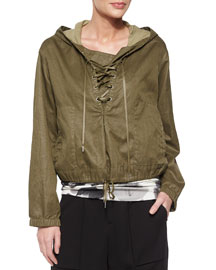 Distressed Resin Hooded Pullover