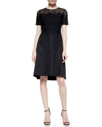 Ophelia Short-Sleeve Mesh-Top Dress