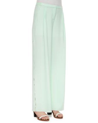 Alena Fluid Wide-Leg Crepe Pants, Mint