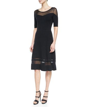Jandra Mesh-Trim Sweaterdress, Black