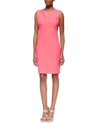 Axel Asymmetric-Inset Sheath Dress, Pink