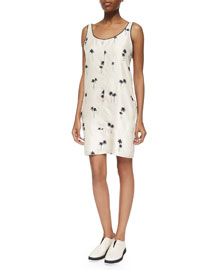 Natalie Sleeveless Palm-Tree-Print Dress, Whitecap