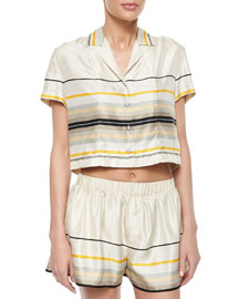 Layne Short-Sleeve Striped Top