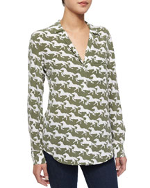 Keira Silk Horse-Print Blouse, Army Jacket/White