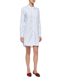 Brett Cotton Shirtdress w/ Contrast, Periwinkle Blue