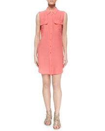 Sleeveless Slim Signature Silk Shirtdress, Sunkissed