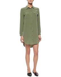Slim Silk Signature Shirtdress, Green
