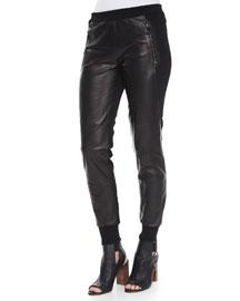 Knit/Leather Combo Jogger Pants
