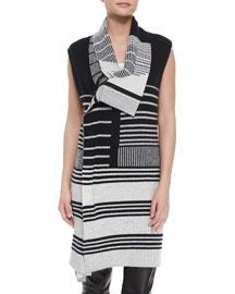Draped Mixed-Stripe Knit Vest