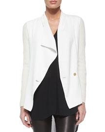 Ribbed Sleeve Drop-Front Jacket, White/Off-White