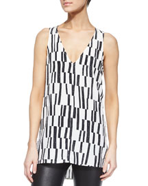 Block-Print Sleeveless Tank, Black/Off-White