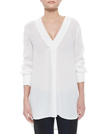 Long-Sleeve V-Neck Sheer Top, White