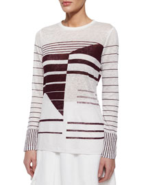 Abstract-Print Long-Sleeve Tee, Off-White/Bordeaux