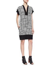 Dotted Grid-Print Silk Dress