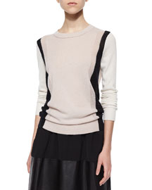 Two-Tone Knit Cashmere Sweater