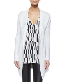 Ribbed Open-Front Knit Cardigan