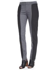Two-Tone Straight-Leg Pants