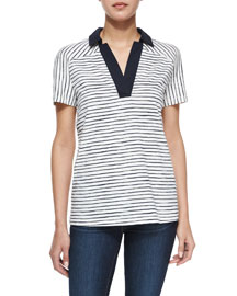 Short-Sleeve Striped Polo Shirt