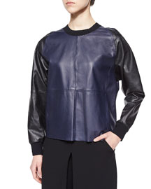Leather/Knit Colorblock Pullover