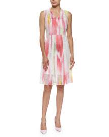 Hillary Sleeveless Mesh Full-Skirt Dress