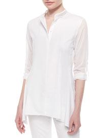 Sabella Long-Sleeve Blouse W/Mesh Detail