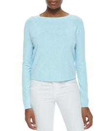 Speckled Pullover Raglan Sweater, Aqua/White
