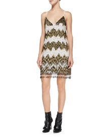 Chevron Beaded Slip Dress