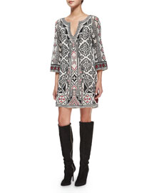 Lowell Embroidered Caftan Dress