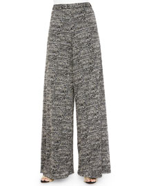 Tweed Super-Flared Wide-Leg Pants, Black Pattern