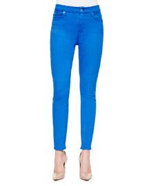 High-Waist Ankle Skinny Jeans, Ultra Marine