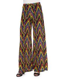 Wide-Leg Tribal Zigzag-Print Pants