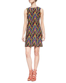 Sleeveless Zigzag Tribal-Print Dress