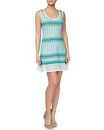 Striped Tank Dress, Aqua/White