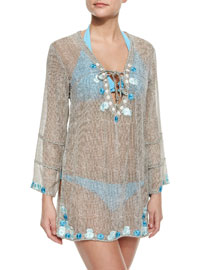 Sheer Embroidered Netted Coverup