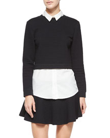 Faux-Layered Check-Embossed Sweater Top