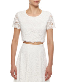 Short-Sleeve Lace Crop Top