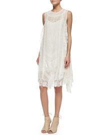 Sleeveless Lace Trapeze Dress