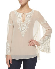 Floral-Embroidered Peasant Blouse